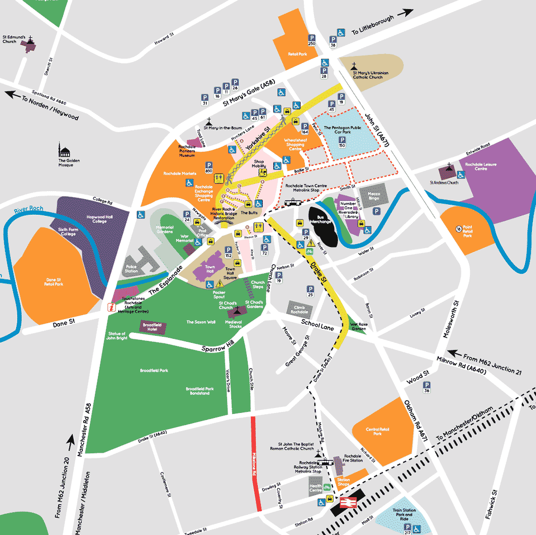 Map Of Rochdale Rochdale Town Centre   Map of Shopping Areas